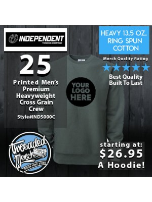 25 Independent Trading Company IND500C Men's Premium Heavy Weight Crew