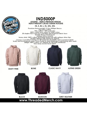 100 Independent Trading Company IND500P Men's Premium Heavy Weight Hooded Pull Over