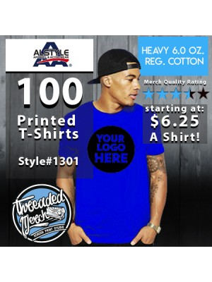 100 Alstyle 1301 Custom Screen Printed T Shirts Special