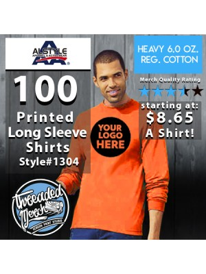 100 Custom Screen Printed Alstyle 1304 - Long Sleeve Shirts Special