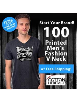 100 Custom Screen Printed Mens V-Neck - Fashion Ring Spun Special MC1047