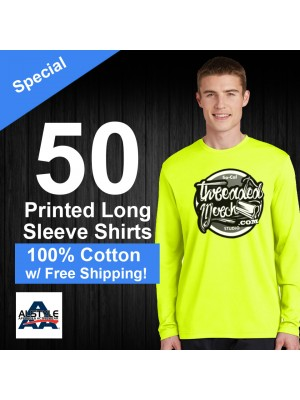 50 Custom Screen Printed Alstyle 1304 - Long Sleeve Shirts Special