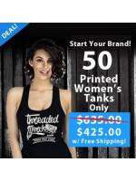 50 Custom Screen Printed Women's Racer Back Tank Special
