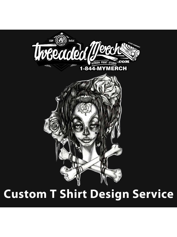 Custom t shirt design threaded merch log design service for T shirt printing in palmdale ca