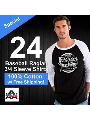 24 Custom Screen Printed  100% Cotton 3/4 Sleeve Baseball Tee -  Alstyle  1334 - Special