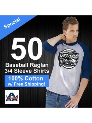 50 Custom Screen Printed  100% Cotton 3/4 Sleeve Baseball Tee -  Alstyle  1334 - Special
