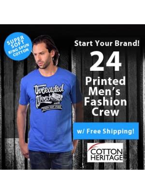 24 Custom Screen Printed Mens Fashion Ring Spun  T Shirts Special MC1044