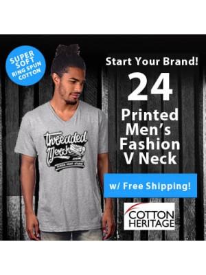 24 Custom Screen Printed Mens V-Neck - Fashion Ring Spun Special MC1047