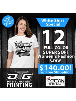 12 Custom Super Soft DTG Womens Fit Tees