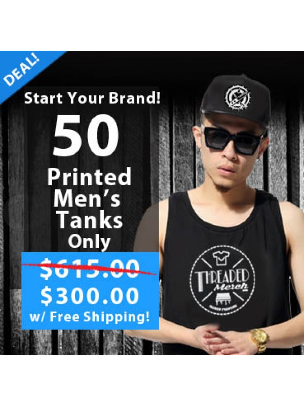 50 Custom Screen Printed Men's Tank Top Special