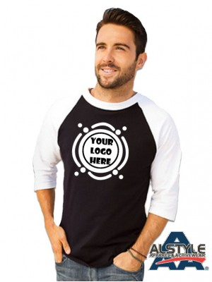1334 100% Cotton 3/4 Sleeve Baseball Tee Alstyle