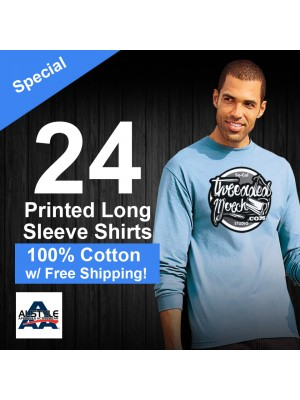 24 Custom Screen Printed Alstyle 1304 - Long Sleeve Shirts Special