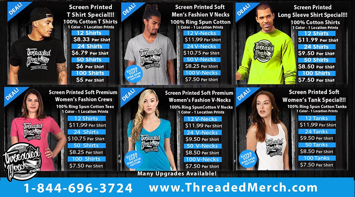 Los Angeles custom t shirt printing screen printing Threaded Merch
