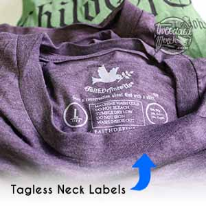 custom tagless labels also known as inside neck labels printed with Threaded Merch