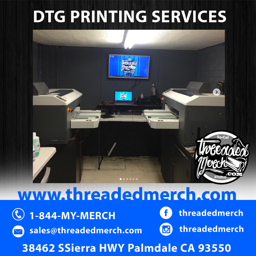 Threaded Merch Direct To Garment Printing - Palmdale DTG Printing - Custom DTG T Shirts