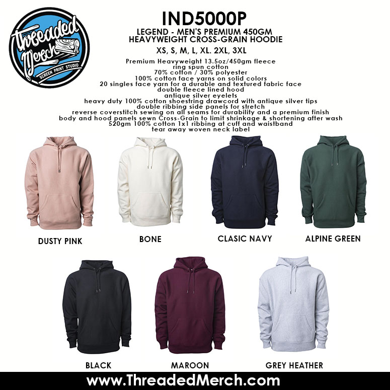 Independent trading company - IND5000P Hooded Pull Over Color Chart  - Threaded Merch - Palmdale Screen Printing - Los Angeles Best Graphic Design Services - Web Designer - Logo Design