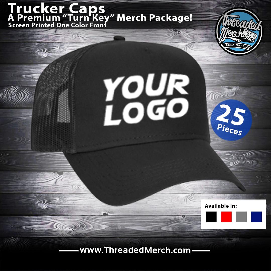 Custom Printed Trucker Caps - Threaded Merch - Palmdale Screen Printing - Los Angeles Best Graphic Design Services - Web Designer - Logo Design